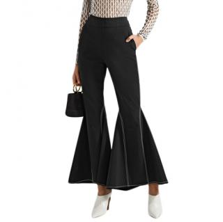 Beaufille Contrast-Stitch Black-Flared Trousers