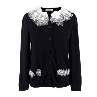Moschino Black & White Floral Trim Cardigan