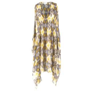 Alexis Pleated Printed Silk Beach Dress