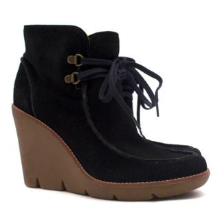 Michael Michael Kors Black Suede & Faux-Shearling Wedge Boots