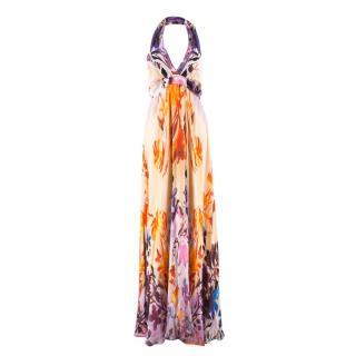 Roberto Cavalli Multicoloured Print Wrap Halterneck Maxi Dress
