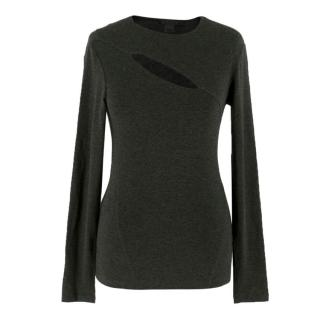 Donna Karan Grey Cut-Out Top