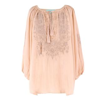 Melissa Odabash Peach Embroidered Beach Blouse