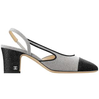 Chanel silver-lame slingback pumps