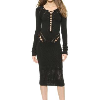 Cushnie Et Ochs black lace front knit dress