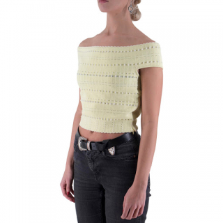 Alexander McQueen off-the-shoulder yellow-knit top