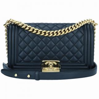 Chanel Navy Quilted-Leather Boy Bag