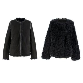 Yves Salomon Reversible Black Shearling & Lambskin Jacket
