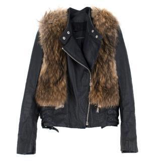 Nour Hammour Flashing Lights Fur-Trimmed Leather Jacket