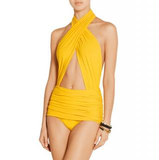 Norma Kamali twisted front front yellow swimsuit