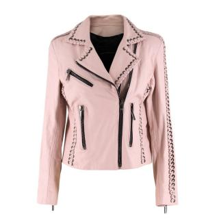 Nour Hammour Vinyl Whip Stitch Leather Moto Jacket