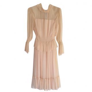 See by Chloe Midi nude chiffon dress