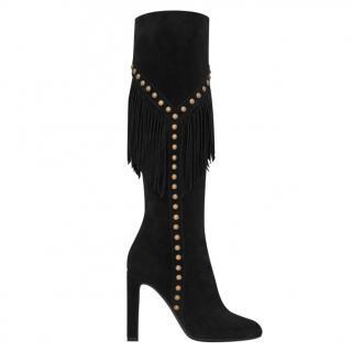 Saint Laurent Grace 105mm fringed suede boots