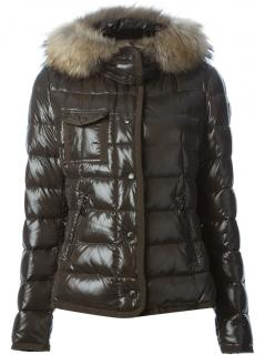Moncler Military Green Armoise Down Jacket W/ Racoon Fur Hood
