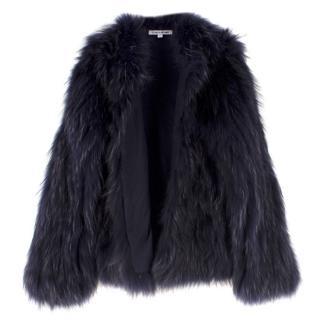 Elizabeth & James Midnight Blue Raccoon Fur Jacket