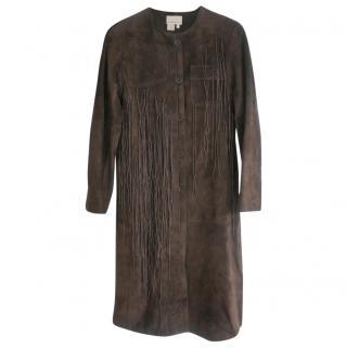 Max Azria Dark Brown Nubuck Leather Art Fringe Embellished Coat