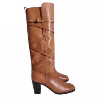 Yves Saint Laurent tan leather boots
