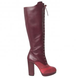 Bally Burgundy Red Leather Knee High Platform Boots