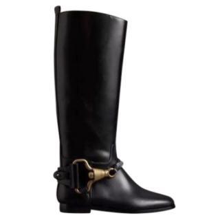 Burberry knee high black riding boots