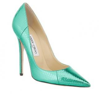 Jimmy Choo Metallic Green Anouk Watersnake pumps
