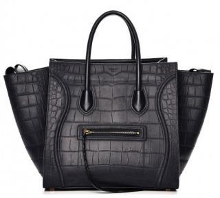 Celine medium phantom in black croc embossed leather