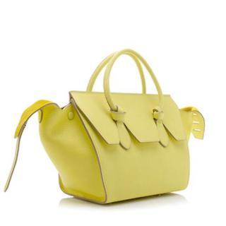Celine chartreuse crisped leather mini tie bag
