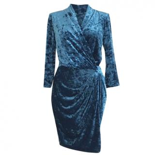 Catherine Malandrino Teal Blue Crushed Velvet Wrap Dress