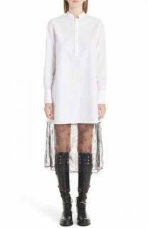 Valentino White Poplin & Lace Shirt Dress