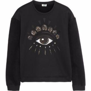 KENZO Eye Embellished Black Sweater with Fleece Sleeves & Diamantes