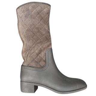 Chanel quilted-suede & rubber boots