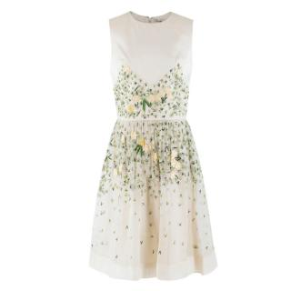 Temperley London floral-embroidered sleeveless silk dress