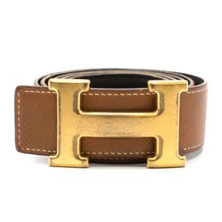 Hermes logo-buckle tan-brown leather belt