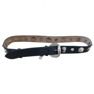 Alexander McQueen spike-embelished black leather belt