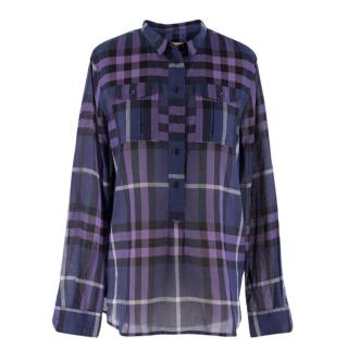 Burberry Brit Checked Cotton-Voile Shirt