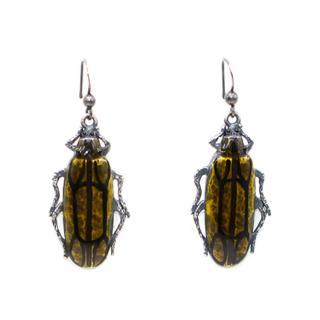 Bespoke Beetle-Drop Antiqued-Silver Earrings