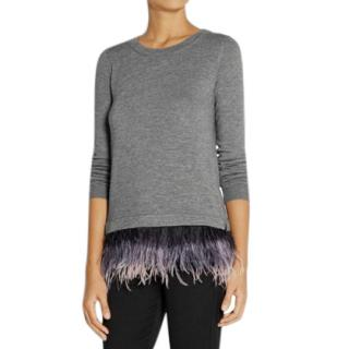 Milly grey-knit feather-trimmed sweater