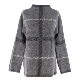 Malene Birger oversized-checked grey sweater