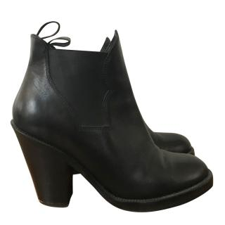 Acne leather platform ankle boots