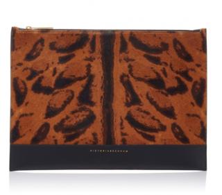 Victoria Beckham Animal Print Leather Pouch
