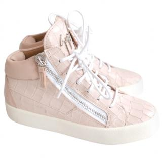 Guiseppe Zanotti �550 Kriss Croc Leather Double Zip Mid Sneakers