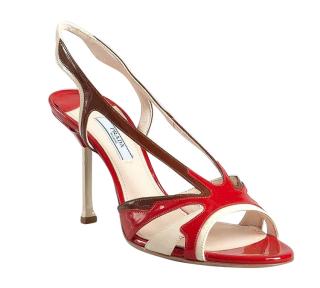 Prada Patent Leather Flame Slingback Sandal