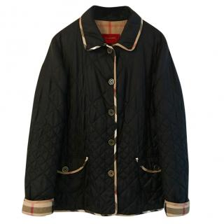 Burberry London black silk-blend quilted jacket
