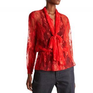 Balenciaga tie-neck red-lace blouse