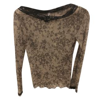 Moschino long-sleeved lace top