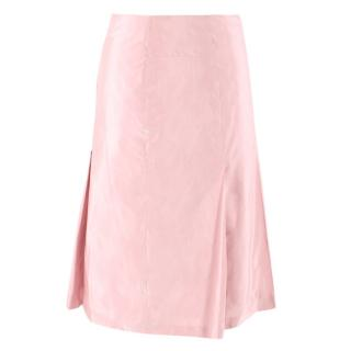 Marina Rinaldi midi-length pleated pink taffeta skirt