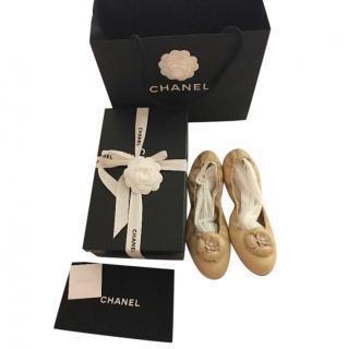 Chanel embellished leather ballet flat pumps