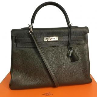 Hermes vert-olive Kelly 35cm leather bag