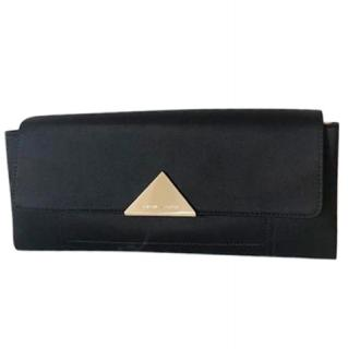 Emporio Armani Black Satin & Leather Clutch