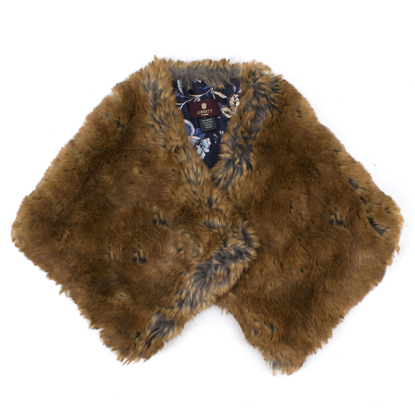 Liberty brown faux-fur princess collar shawl