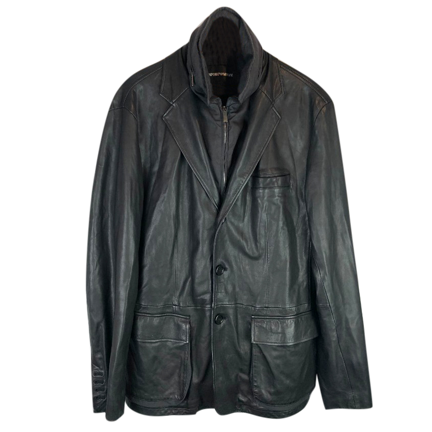 Emporio Armani Leather Blazer Jacket